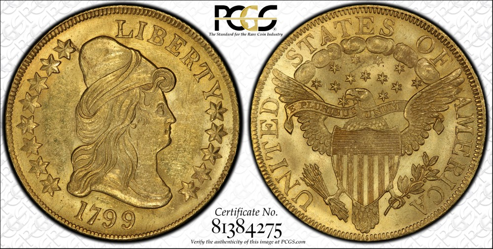 Paragon Numismatics - Gold Coins - 1799 $10.00 Draped Bust Heraldic Eagle