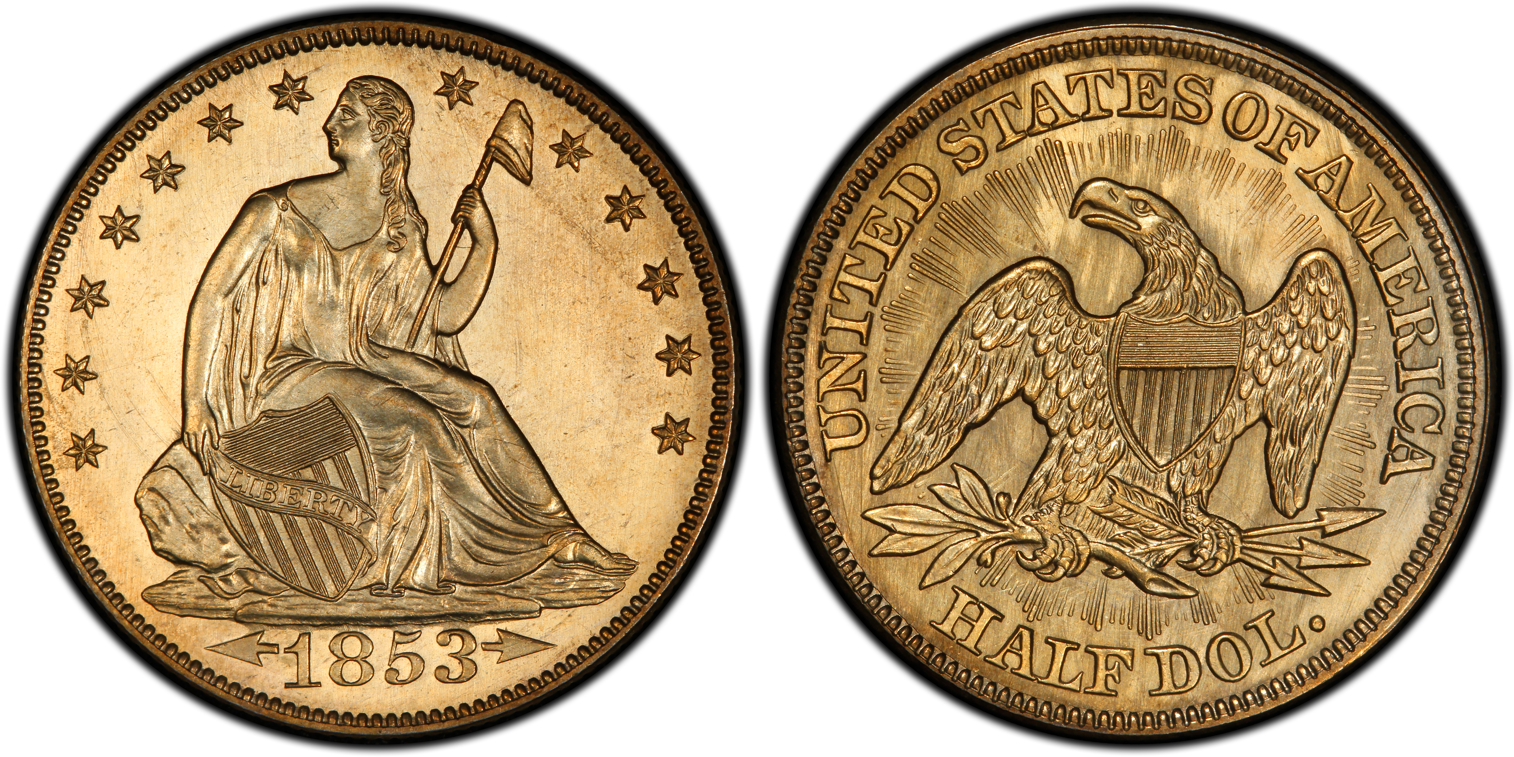 Paragon Numismatics - Half Dollar Coin - 1853 Arrows and Rays Liberty Seated Half Dollar